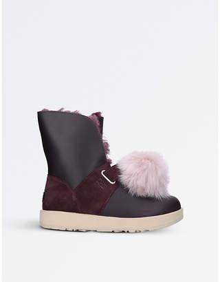 UGG Isley waterproof leather pom pom boots