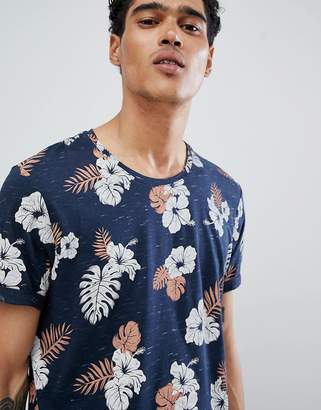 Esprit T-Shirt With Tropical Print and Curved Hem