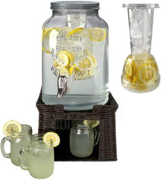 Artland Masonware Beverage Dispenser With Set Of 6 Mason Jars