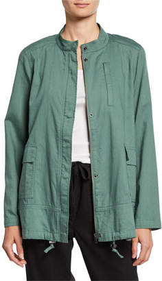 Eileen Fisher Organic Cotton Twill Stand-Collar Jacket