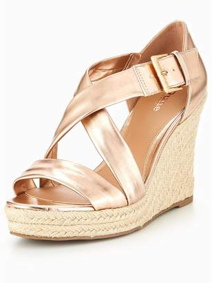 Head Over Heels Kissimo Cross Strap Wedge Sandals - Rose Gold