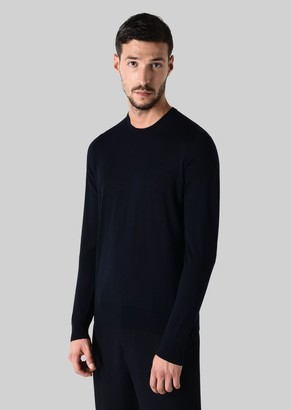 Giorgio Armani Crew-Neck Sweater In Pure Virgin Wool