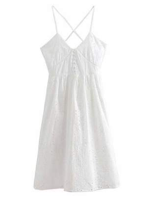 Goodnight Macaroon 'Ida' Broderie Anglaise Crossed Back Midi Dress
