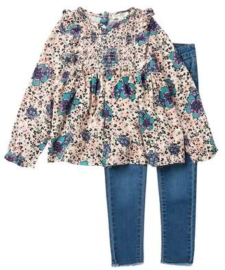 Jessica Simpson Floral Top & Denim Set (Toddler & Little Girls)