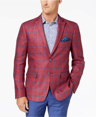 Tallia Orange Men's Big & Tall Modern-Fit Raspberry Windowpane Sport Coat