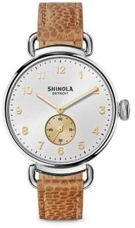Shinola The Canfield Stainless Steel& Leather Strap Watch
