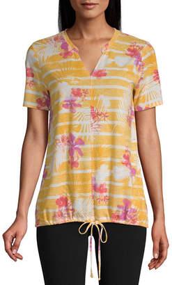 ST. JOHN'S BAY SJB ACTIVE Active-Womens Split Crew Neck Short Sleeve T-Shirt