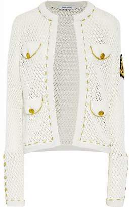2d8c3db7 Pierre Balmain Embellished Open-knit Cotton Cardigan