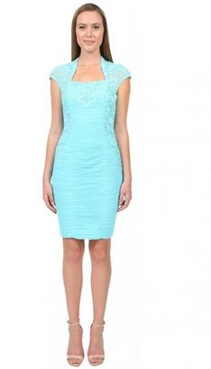 Sue Wong - Bolero Sheath Dress in Turquoise Cocktail Dress $572 thestylecure.com