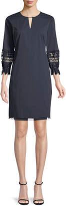Elie Tahari Ari Crochet-Trim Shift Dress