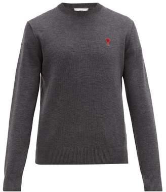Ami Logo Appliqued Merino Wool Sweater - Mens - Grey