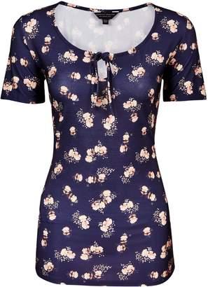 Dorothy Perkins Womens **Tall Navy Ditsy Print Tie Top