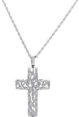 Magerit 18K White Gold Gothic Cross Pendant Necklace
