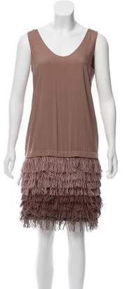 Brunello Cucinelli Fringe-Trimmed Silk Dress