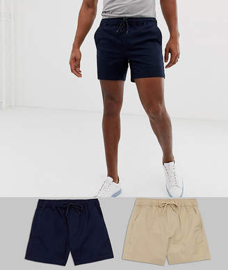Asos Design DESIGN 2 pack slim shorter chino shorts with elastic waist in putty & navy save