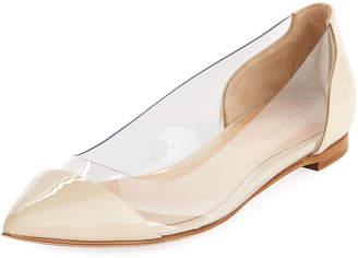 Gianvito Rossi Plexi Leather Illusion Ballet Flats