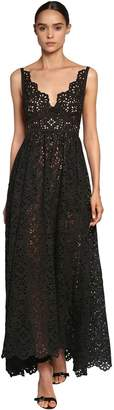 Elie Saab Cotton Blend Lace Dress W/ Poplin Bow
