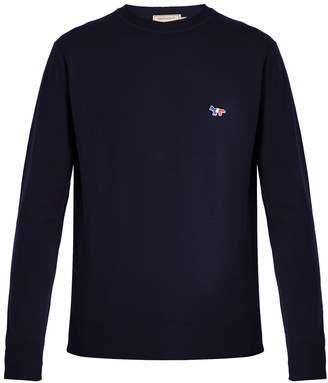 MAISON KITSUNÉ Crew-neck fox-appliqué wool sweater