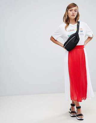 Monki pleated midi skirt in color block