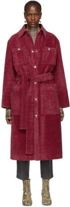 Acne Studios Pink Corduroy Long Coat