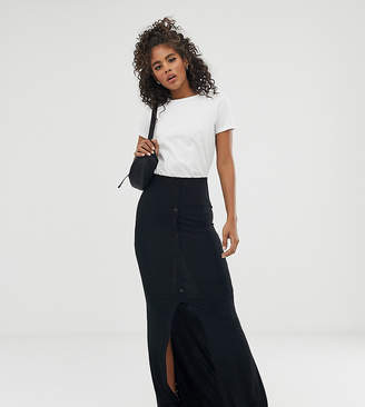 ba2f5f4a851 Asos Tall DESIGN Tall maxi skirt with button front and split detail