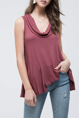 Blu Pepper Cowl Neck Sleeveless Knit Top