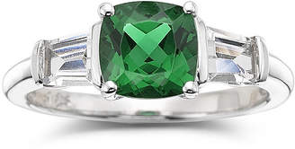 JCPenney FINE JEWELRY Simulated Emerald & Lab-Created White Sapphire Sterling Silver 3-Stone Ring