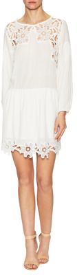 Cotton Lace Paneled Flare Dress $219 thestylecure.com
