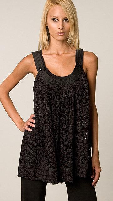 Tracy Reese Black Eyelet Crochet Tunic