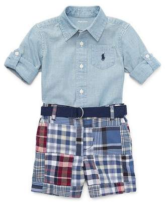 Ralph Lauren Chambray Shirt w/ Patchwork Shorts, Size 9-24 Months