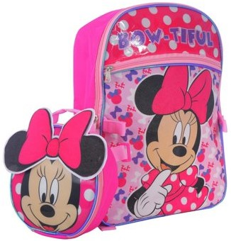 Disney Minnie Mouse DISNEY MINNIE MOUSE BACKPACK WITH BOW LUNCH BAG