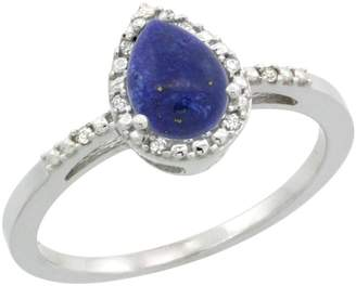 Sabrina Silver Sterling Silver Diamond Natural Lapis Ring Pear 7x5mm, 3/8 inch wide, size 7.5