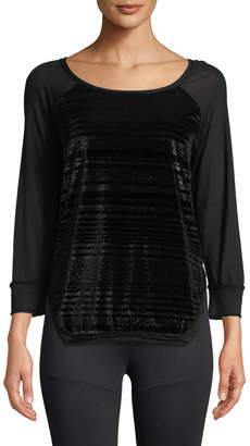 Koral Activewear Script Scoop-Neck Pullover Velvet Top with Jersey & Metallic