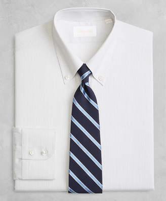 Brooks Brothers Golden Fleece Regent Fitted Dress Shirt, Button-Down Collar Black Micro-Stripe