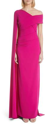 Talbot Runhof Cape Stretch Crepe Gown