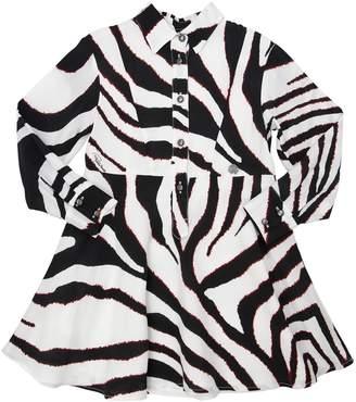 Roberto Cavalli Zebra Printed Viscose Shirt Dress