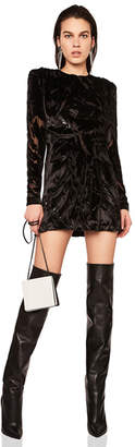 Saint Laurent Draped Burnout Velvet Dress