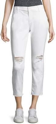 AG Adriano Goldschmied Women's Tristan Distressed Raw-Hem Jeans - White, Size 28 (4-6)