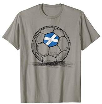 Scotland Scottish Flag Design On Soccer Ball Jersey T-Shirt
