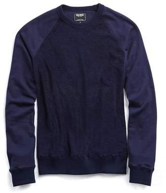Todd Snyder Texture Terry Block Crew in Navy