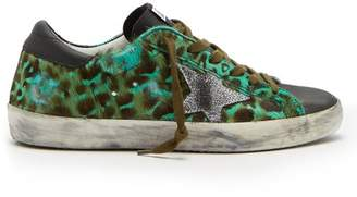 Golden Goose Deluxe Brand - Superstar Leopard Print Calf Hair Low Top Trainers - Womens - Green Multi