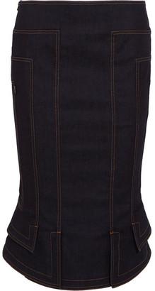 TOM FORD - Fluted Denim Pencil Skirt - Dark denim $1,550 thestylecure.com