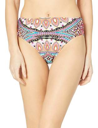 Kenneth Cole Reaction Women's High Waist Convertible Hipster Bikini Swimsuit Bottom Pink Siren X-Large