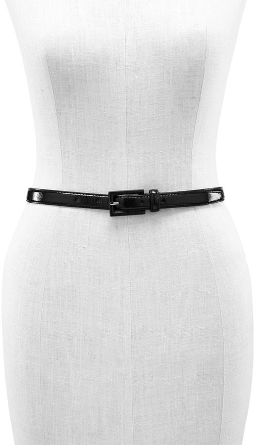 Another Line Skinny Patent Belt with Covered Buckle