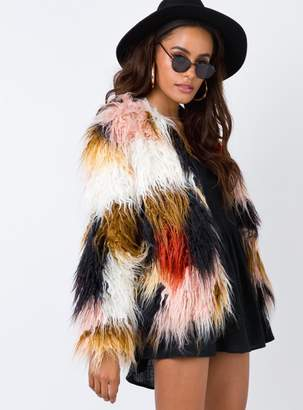 MinkPink Swirl Fur Coat