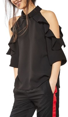 Women's Topshop Ruffle Cold Shoulder Top $68 thestylecure.com