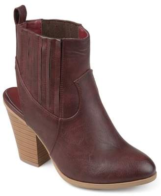 Co Brinley Womens Faux Leather Stacked Wood Heel Slingback Western Almond Toe Booties