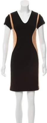 Diane von Furstenberg Dayton Leather-Trimmed Mini Dress