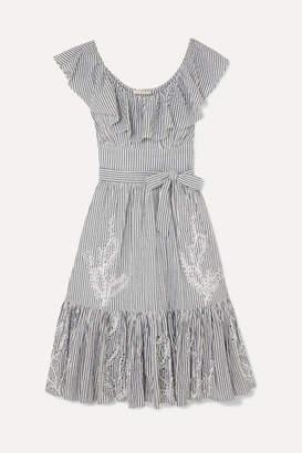 f62be66ba3 Tory Burch Ruffled Striped Broderie Anglaise Cotton-seersucker Dress - Blue