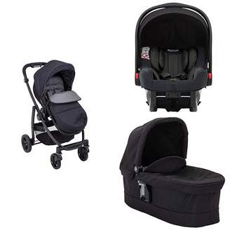 Graco Garco Evo Pushchair and Luxury Carrycot Black/Grey with SnugRide iSize Infant Car Seat Midnight Black